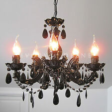 BLACK VINTAGE MARIE THERESE CHANDELIER 5 ARM GLASS & CRYSTAL LIGHT LAMP NEW GIFT