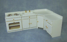 Dolls House White Four Piece Kitchen Furniture Set    12th scale
