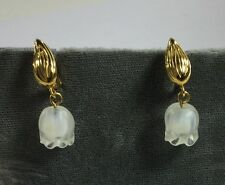 Vintage Pair Of Lalique Crystal Muguet Earrings - Lilly Of The Valley