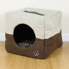 Brown Leopard Soft Cosy Igloo Cave Warm Pet Bed Dog/Puppy/Cat/Kitten Cube House