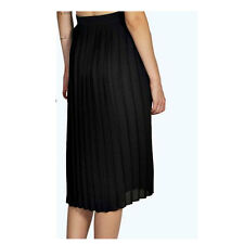 Ladies Womens All Over Pleated Crepe Summer Casual Midi Skirt Side zip UK 8-14