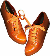 NWD♥COMFY SOFT ORANGE♥LEATHERETTE/POLY-CANVASS♥MID CUT SNEAKER SHOES_S39/ 38