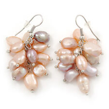 Pink, Lavender Freshwater Pearl Grape Drop Earrings In Silver Tone - 45mm L