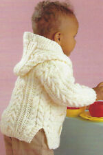 Baby/ Child Aran Cable Jackets/ Hood/ Boy/Girl  0 - 8 Yrs  Knitting Pattern