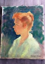 Superb 1964 Mildred C. Jones Oil Painting Young Redheaded Woman, Signed