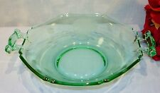 Green Depression Glass Etched Notched Octagon Candy Dish