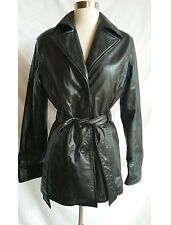 WILSONS Leather Size XS Belted Black Coat Thinsulate Ulta Insulation