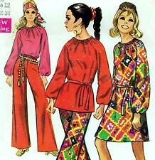 """EASY Vintage 60s Mod DRESS Top BELL BOTTOM PANTS Sewing Pattern Bust 34"""" Size 10"""