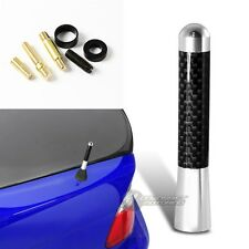 "3"" Silver Carbon Fiber Overlay Car Aerial Radio Antenna +Screws For Mitsibishi"