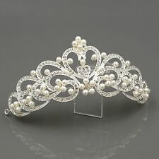 Pearl Austrian Crystal Rhinestone Tiara Crown Bridal Wedding Party Pageant 00242