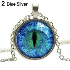 Highly Popular Colored Dragon Cat Eye Glass Cabochon Plated Pendant Necklace