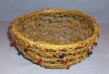 Vintage Copper Wire basket w/ glass beads - Hand crafted