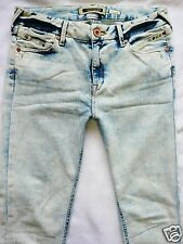 River Island Ladies Jeans Size 12 R acid super skinny Follow Your Dreams 32/31