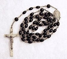 Vintage Catholic Rosary HMH Sterling Etched Crucifix & Centerpiece Black Beads