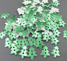 100pcs Green Christmas tree shape Resin Buttons Sewing scrapbooking Crafts 17mm