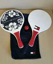 vtg Tommy Hilfiger paddle set, colorblock, spellout, case and ball, beach
