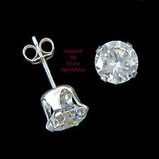 Sterling Silver 925 6mm Round SPARKLING Clear Post Stud Earrings - NEW!