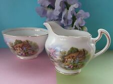 Vintage1940s Royal Vale Bone China Tea Set Cottage Creamer/Milk Jug & Sugar Bowl