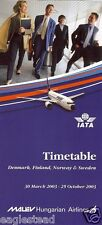 Airline Timetable - Malev Hungarian - 30/03/03 - Nordic Edition - B737 cover