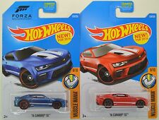 "2016 Hot Wheels: '16 CAMARO SS ""Blue & Red"" 1st Edition - FORZA - 2 Car LOT New!"
