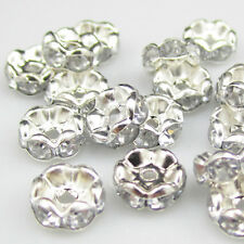 NEW Charm 100pcs Size 8MM Plated silver crystal spacer beads white color