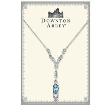 Downton Abbey Silver Tone Aquamarine and Crystal Necklace Free Shipping17675