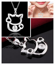 New Women Fashion 925 Sterling Silver Plated Cat Pendant Necklace Chain Jewelry