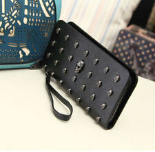 New womens Rivet Wallets Retro punk Skull Clutch Purses PU Leather Card Holder