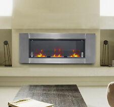 "HOMCOM 53.5"" Wall Mounted Bio Ethanol Fireplace W/ 3 Insert Burners Silver Black"