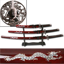 Red Dragon Samurai Sword Set with Display Stand Katana Wakizashi Tanto - 3 Piece