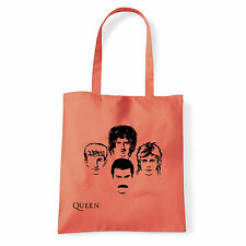 Art T-shirt, Borsa shoulder Queen Faces, Corallo, Shopper, Mare