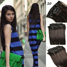 Clip in Remy Hair Extension 100% Real Human Hair Any Color 14''-24'' Full Head