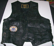 Motorcycle Biker Vest by Barney's Leather; Adjustable with Side Lacing, Size 42