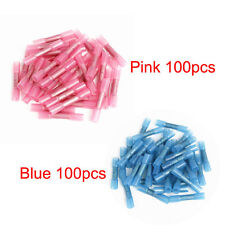 200pcs Pink+Blue Heat Shrink Butt Insulated Crimp Terminals Wire Connectors
