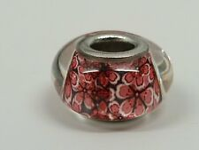 Glass European Bead pink Floral Print 14x8 Brass Double core, Rondelle