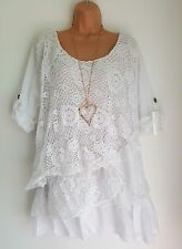 New Italian Lagenlook White Lace Sequin Mesh Top Tunic 16 18 20 22 24