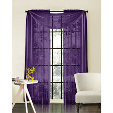"""Sheer Voile 2-Piece Purple Curtain Panel Solid Window Treatment 84"""" Long New"""