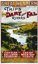 Vintage Rail travel poster  A4 RE PRINT Trips on the Dart & Fal Rivers