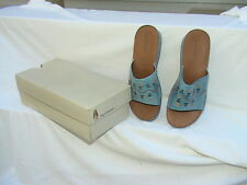 Hush Puppies Soft Styles Niagra Blue Lea Leather Sandals Open Toe 10W