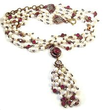CHANEL, France 1984 Simulated 4-Strand Baroque Pearls Ruby & Diamante Necklace