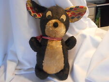 Antique Stuffed Toy mouse Plaid Ears (Saw Dust?) AH