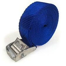 8 Buckled Straps 25mm Cam Buckle 5 meters Long Heavy Duty Load Securing Blue