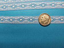 "French Heirloom Cotton Lace Insertion 1/2""Wide/White Fashion/Craft/Doll Lace/857"
