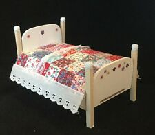 Dollhouse Miniature Bed With Quilt and Mattress Item B14