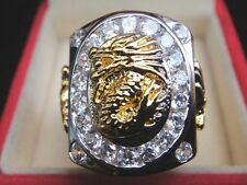 # 9 Elvis Style Dragon Gold 24K Men's RING sparkling CZ Sapphire Jewel Solitaire