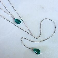 Green Beaded Necklace Layered Long Y-Drop--Glass Beads w/ Stainless Steel Chain