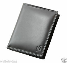 New Mens Luxury Genuine Soft Leather Wallet With Removable I.D Pocket Black 1090