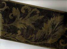 BLACK AND GOLD LEAF SCROLL WALLPAPER BORDER ZA30139B