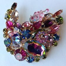 VINTAGE JULIANA D & E FRUIT SALAD WATERMELON RHINESTONE & MAGARITA BEAD BROOCH