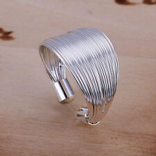 Fashion Womens  Solid 925Sterling Silver Line Ring Jewelry R01 XMAS GIFT